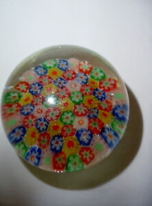 Vintage-Art-Glass-Multi-Colored-Millefiori-Flower-Paperweight