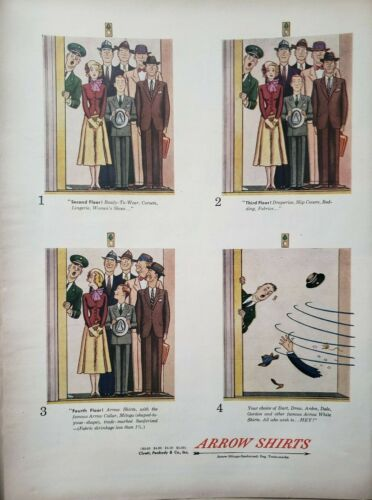 Vintage 1948 Arrow Shirts Print Ad Ephemera Art Decor Cluett Peabody co