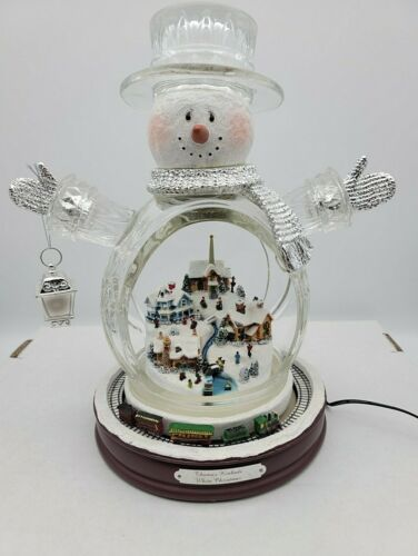 Thomas Kinkade White Christmas Masterpiece Edition Crystal Snowman Train 2007