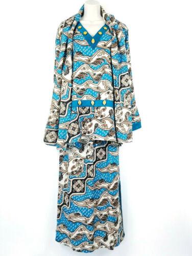 Ashro Womens Blue Maxi Skirt Top Scarf Shell Beads Ethnic African Hawaiian Sz M