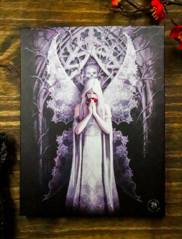 Ebros Anne Stokes Only Love Remains Skull Fairy Wood Framed Picture Canvas Decor