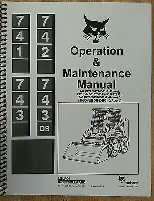 Bobcat 743 Operation Operator Maintenance Manual Book Hi Sn Skid Steer Loader