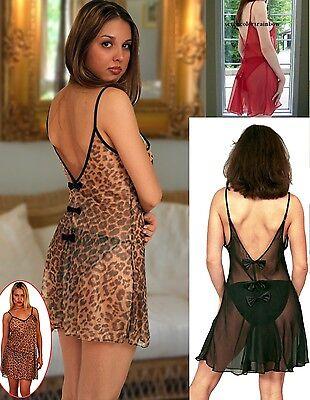 PLUS SIZE Black Red Leopard print chiffon chemise 1X 2X 3X 4X 5X lingerie T5515 ()