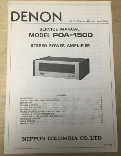Original Denon Service Manual for the POA-1500 Amplifier Amp ~ Clean