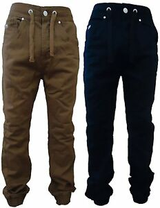 NEW-MENS-TAPERED-FIT-CUFFED-BOTTOM-JEANS-CARROT-FIT-JOGGERS-2-COLORS-W30-W36-NEW