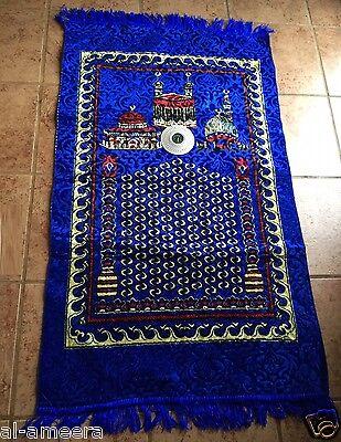 New Islamic Prayer Rug + Compass Mat Namaz Salat Musalah Blue Sejadah ~Free Ship