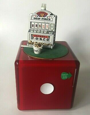 Enesco Coin Operated Slot Machine Music Box We're In The Money Dice Poker