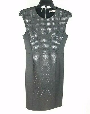 Rebecca Taylor Nailhead Studded Sheath Dress 2 Gray Cap Sleeve Stretch Cocktail