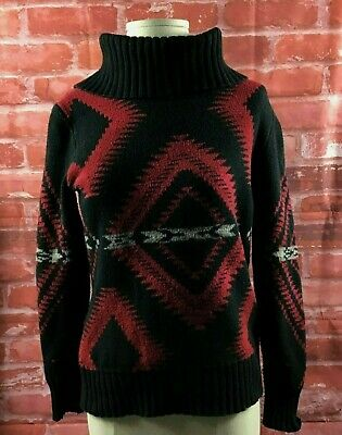 LRL Ralph Lauren Women's Sz M Black/Red Aztec Sweater