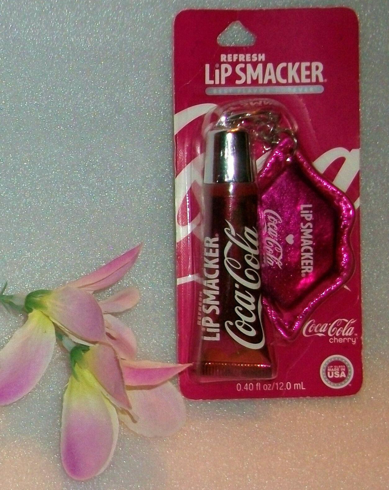 2 Set Lip Smacker Cherry  COKE Soda Cup Balm Lip Gloss Keych