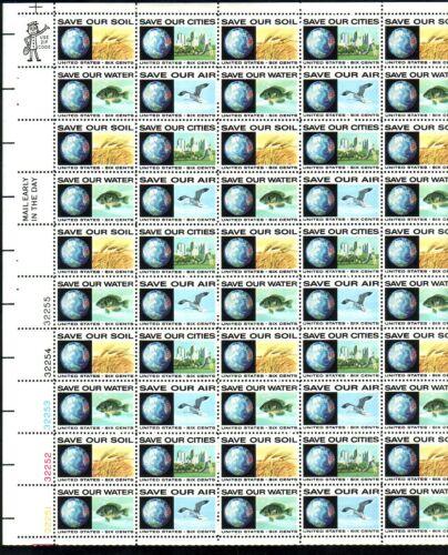 #1410-13 ANTI-POLLUTION.  MINT SHEET. F-VF NH. BCV $17