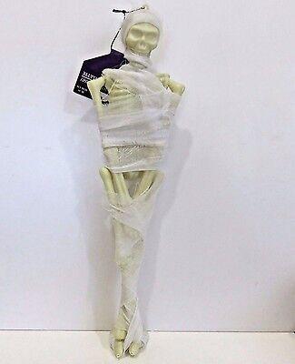 Scarey Halloween Decor, Hanging Skeleton Mummy (In Gauze) 15.5 Inches Tall, New
