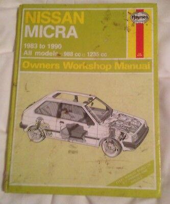 NISSAN MICRA 1983 -1990 988cc & 1235cc HAYNES MANUAL