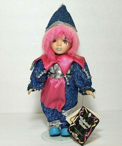 Collectors Choice porcelain doll collectible bisque porcelain clown blue pink