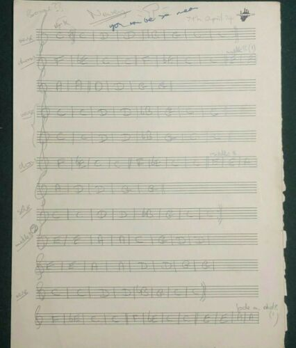 """John Entwistle Handwritten Title, Music and Notes to """"You Can Be So Mean"""" w/ COA"""