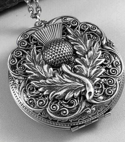 Large THISTLE Locket Necklace SCOTTISH CELTIC SCOTLAND FLOWER Antique Silver plt