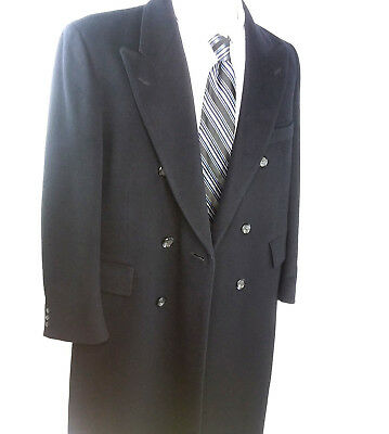 Mens Luxury Wool Cashmere (Adams Row Mens Luxury Cashmere Wool Blend Top Over Coat Black Size Medium  )