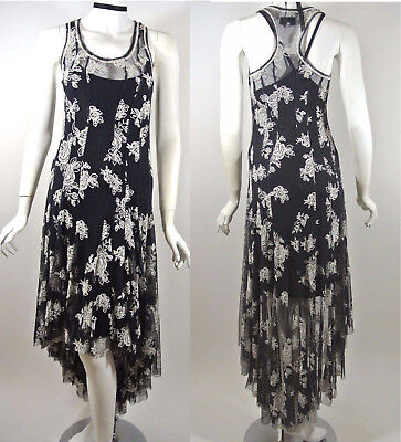 Johnny Was BIYA Black/White Floral Lace Tank Dress Formal Cocktail S Long Back❤️