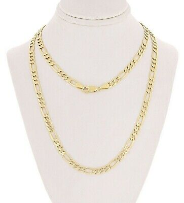 """Men's 14k Yellow Gold Solid Figaro Chain Necklace Link 22"""" 4.5mm 14 grams"""