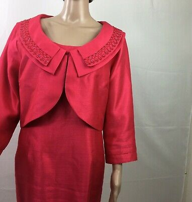 Kasper 2 Piece Sheath Dress And Bolero Jacket Womans Size 16 Soft Orange -