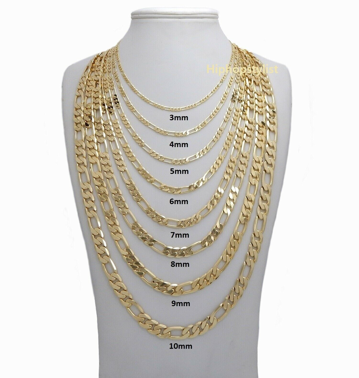 14k Italian Figaro Link Chain Necklace 3mm to 10mm Gold Plated 16