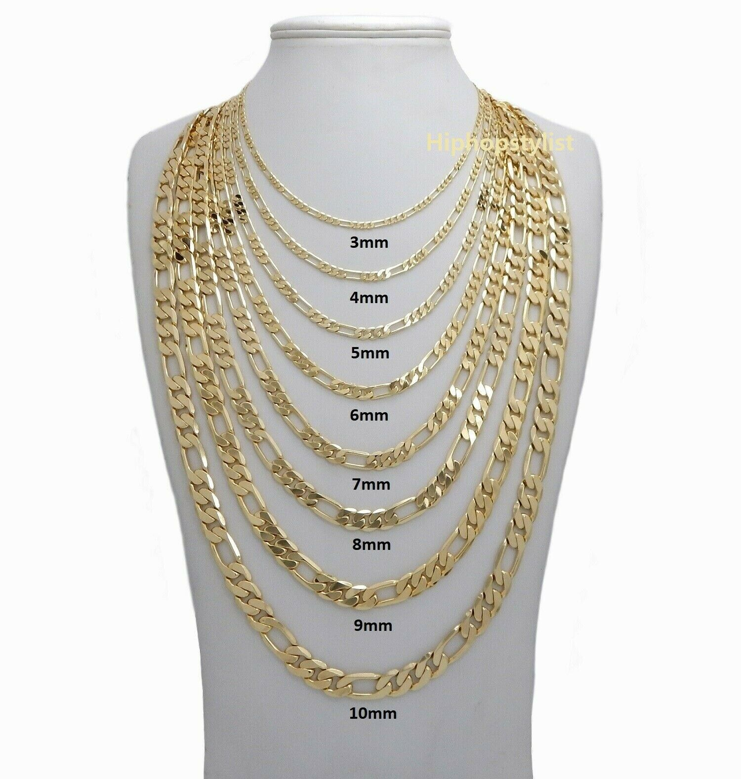 Jewellery - 14k Italian Figaro Link Chain Necklace 3mm to 10mm Gold Plated