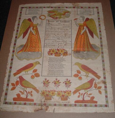Antique 1833  Pennsylvania German Fraktur  / Printed & manuscript Particulars