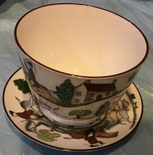 Fox Hunt Open Sugar Bowl and Underplate Crown Staffordshire