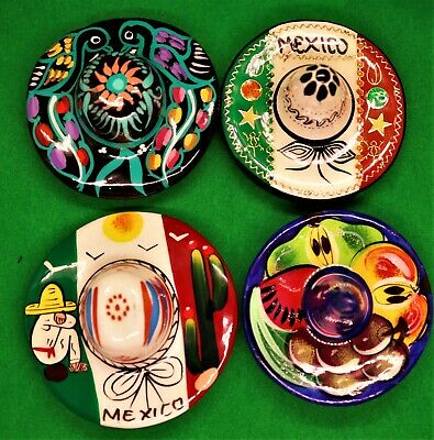 Mexican Folk Art Hand Painted Ceramic Set of 4 Mexican Hats Refrigerator Magnets
