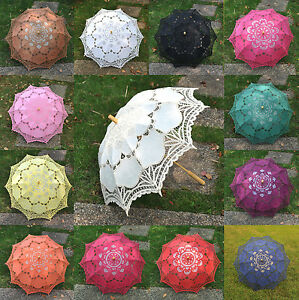 New-Handmade-Multi-Colors-Pure-Cotton-Lace-Parasols-Bridal-Wedding-Umbrellas