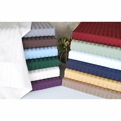 100% Cotton Damask Stripe (Luxury 300 Thread Count 100% Cotton Sheets Damask Stripe Luxury Sateen)