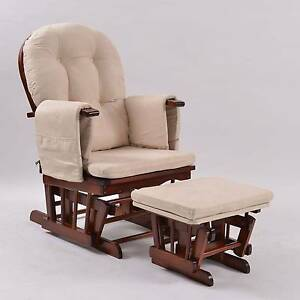 Brand New Glider Nursing Feeding Chair with Ottoman - White/Walnu Campbellfield Hume Area Preview