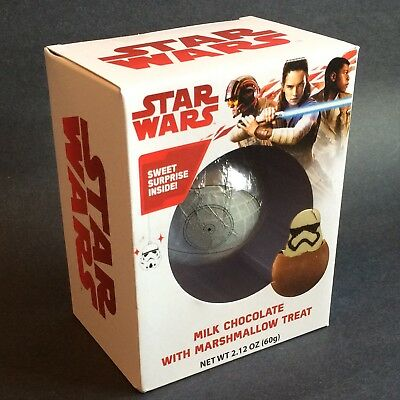 Star Wars Death Star Milk Chocolate With Storm Trooper Marshmallow Treat - New - Stormtrooper Marshmallows
