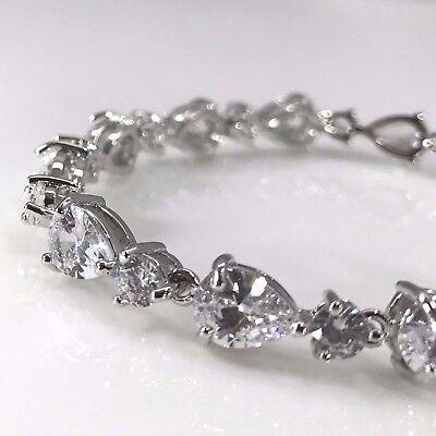 (925 Sterling Silver Tone Cubic Zirconia White Crystal Tennis Bracelet CZ Bridal)