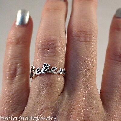 Believe Script Ring   925 Sterling Silver   Faith Hope Trust Cursive Believe New