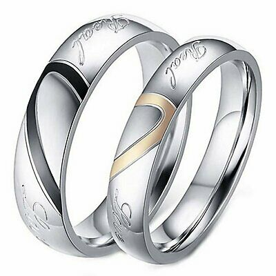 """Jewellery - Stainless Steel """" Real Love """" Heart Couples Promise Engagement Ring Wedding Band"""