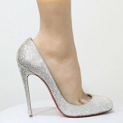 Christian Louboutin Fifi White Wedding Shoes Swarovski Pumps EU 38.5 US 8 - 8.5