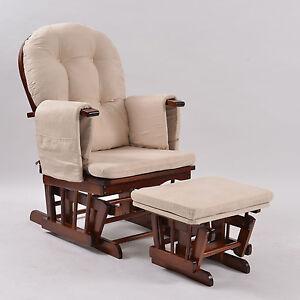 Baby Breast Feeding Sliding Glider Rocking Chair with Ottoman Walnut Beige