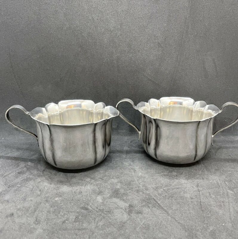 Vintage Wm A Rogers Creamer Open Sugar Bowl Set Scalloped Design Silverplate