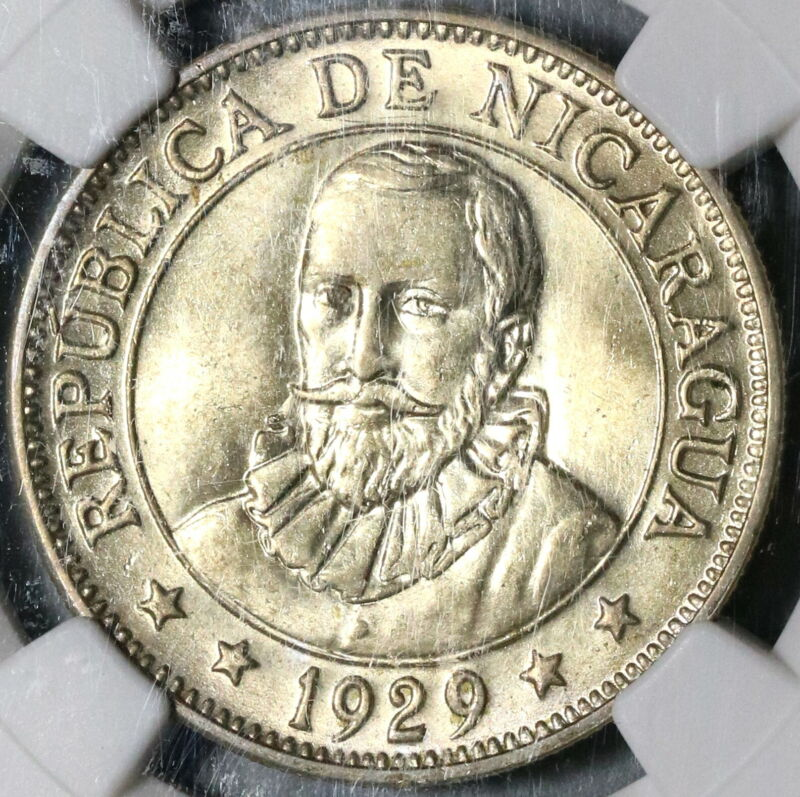 1929 NGC AU 58 Nicaragua 50 Centavos Volcanos Rare 20K Silver Coin (20010803C)