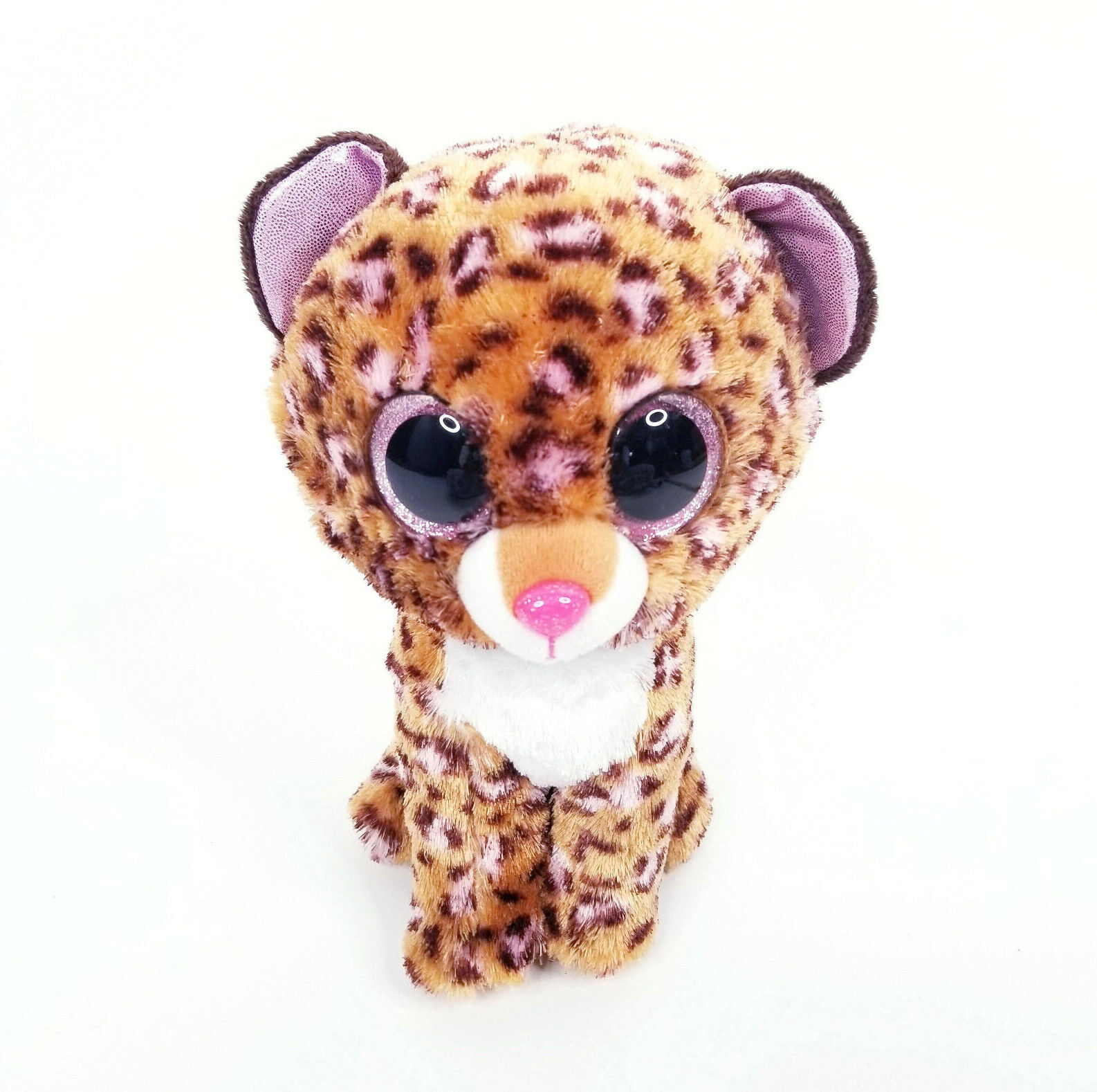 Ty Beanie Boo Patches Plush Leopard Kitty Cat Pink Glitter Eyes 9  - $13.49