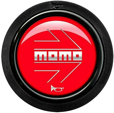 Genuine Momo gloss red silver arrow steering wheel horn push button (small).