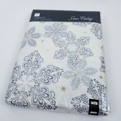 Christmas Table Cloth Cover Silver Gold Snow Flake Rectangle Tablecloth Party  for sale  Shipping to India