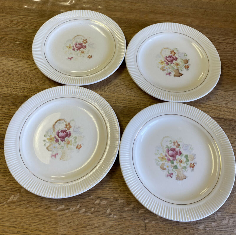 Vintage Salem China Basket Needlepoint Set of 4  Bread Plate 7-1/4 inch USA