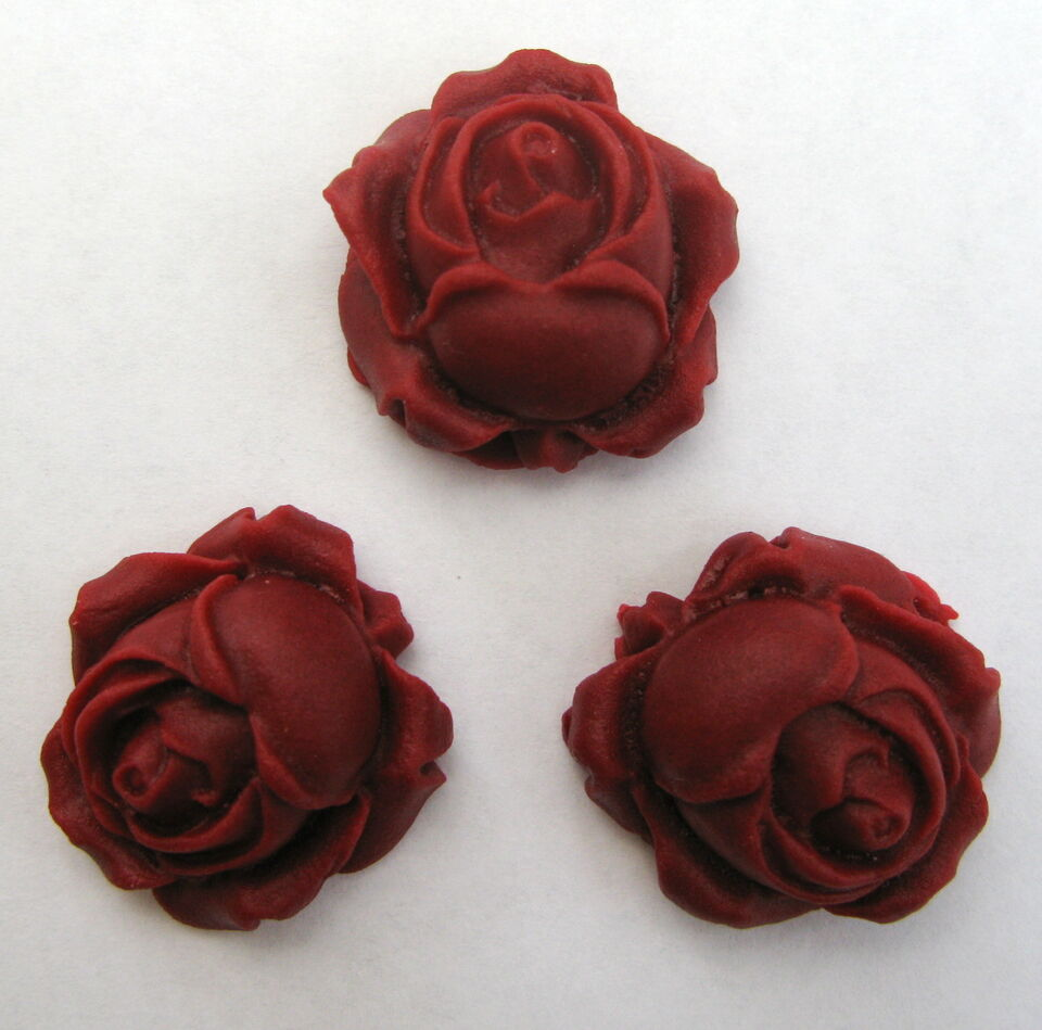 20 Burgundy/Ruby ROSE BUDS Handmade Edible Sugar Cake Decorations toppers 2.5cm