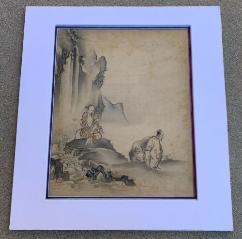 "JAPANESE/CHINESE ANTIQUE ""SCHOLARS IN A LANDSCAPE""  INK & COLOR PAINTING ON SILK"