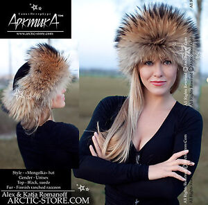 Original-russian-Leather-top-roller-shapka-fur-hat-RANCHED-Fox-Raccoon-Red-Black