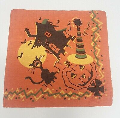Vintage Halloween Crepe Paper Party Napkin Haunted House Black Cat JOL Bats
