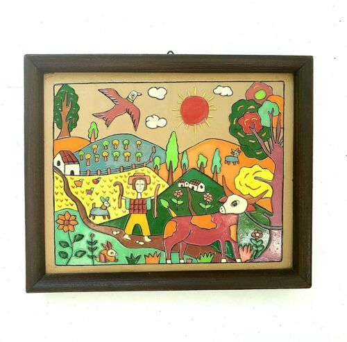 Fernando Llort El Salvador La Palma Painted Clay Tile Coop. La Semillia de Dios