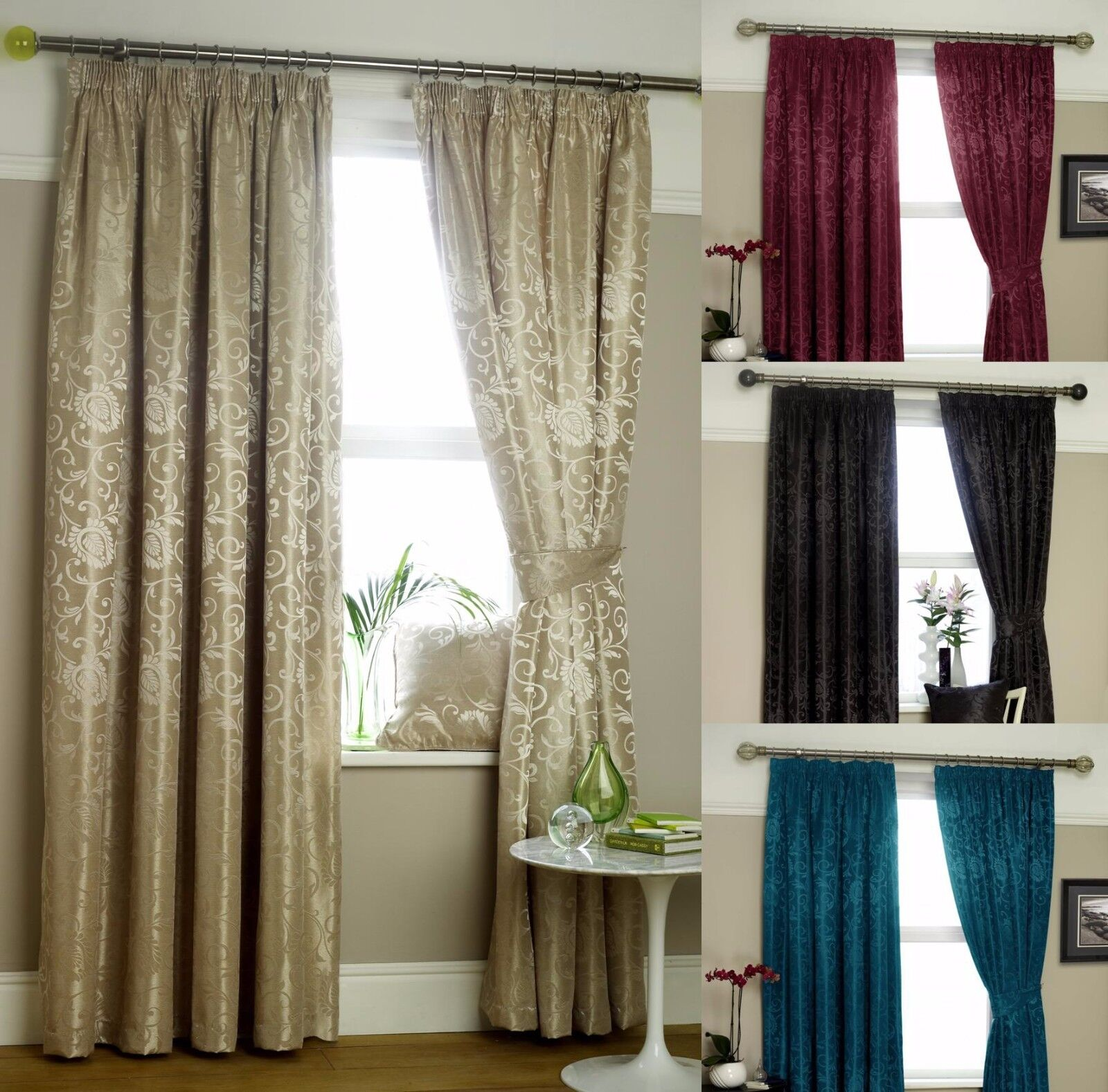 ETON JACQUARD READY MADE LINED CURTAINS IN TEAL NATURAL BLACK